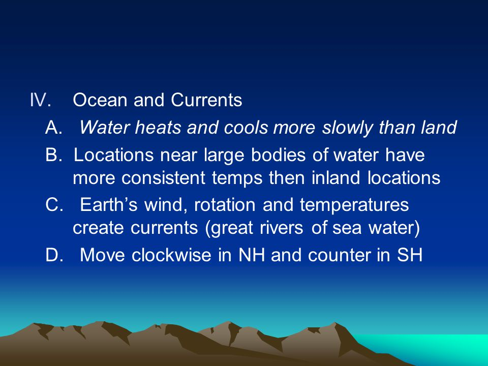 A. Water heats and cools more slowly than land