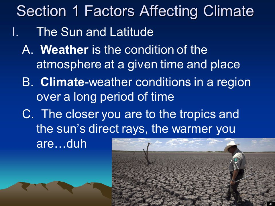 Section 1 Factors Affecting Climate
