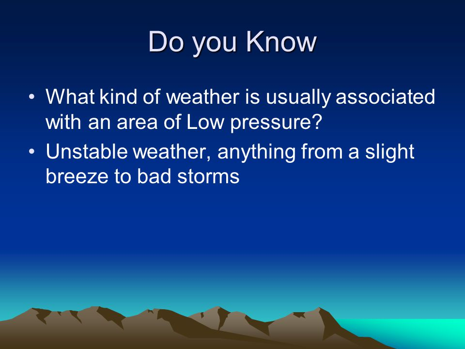 Do you Know What kind of weather is usually associated with an area of Low pressure.
