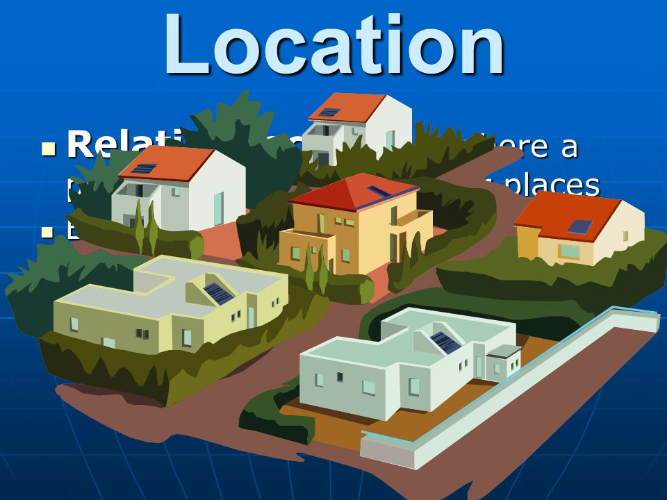 Location Relative location – where a place is in relation to other places. Examples. Sugar Land is SW of Houston.