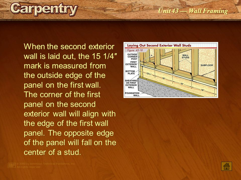 When the second exterior wall is laid out, the 15 1/4″ mark is measured from the outside edge of the panel on the first wall. The corner of the first panel on the second exterior wall will align with the edge of the first wall panel. The opposite edge of the panel will fall on the center of a stud.