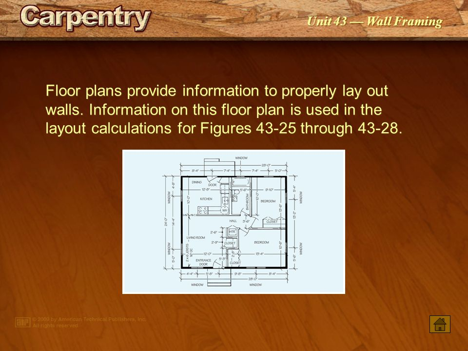 Floor plans provide information to properly lay out walls