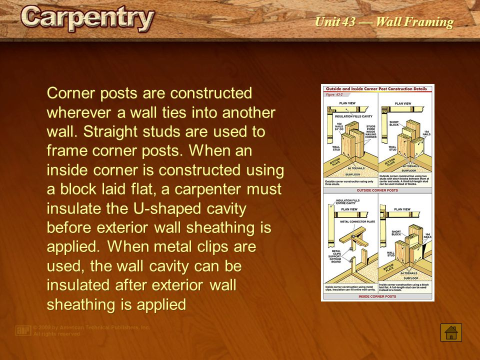 Corner posts are constructed wherever a wall ties into another wall