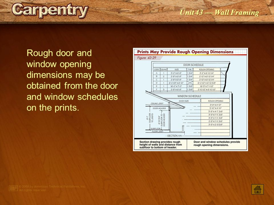 Rough door and window opening dimensions may be obtained from the door and window schedules on the prints.