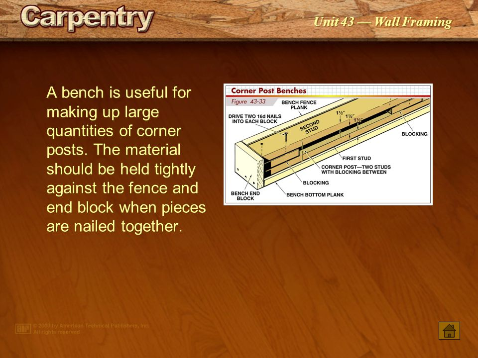 A bench is useful for making up large quantities of corner posts
