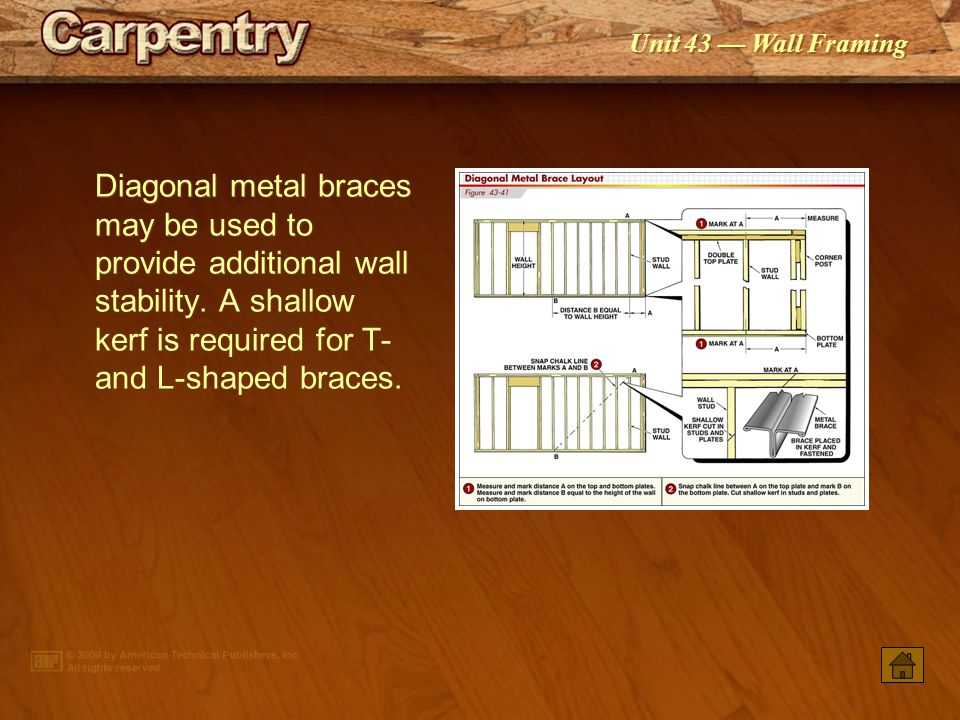 Diagonal metal braces may be used to provide additional wall stability