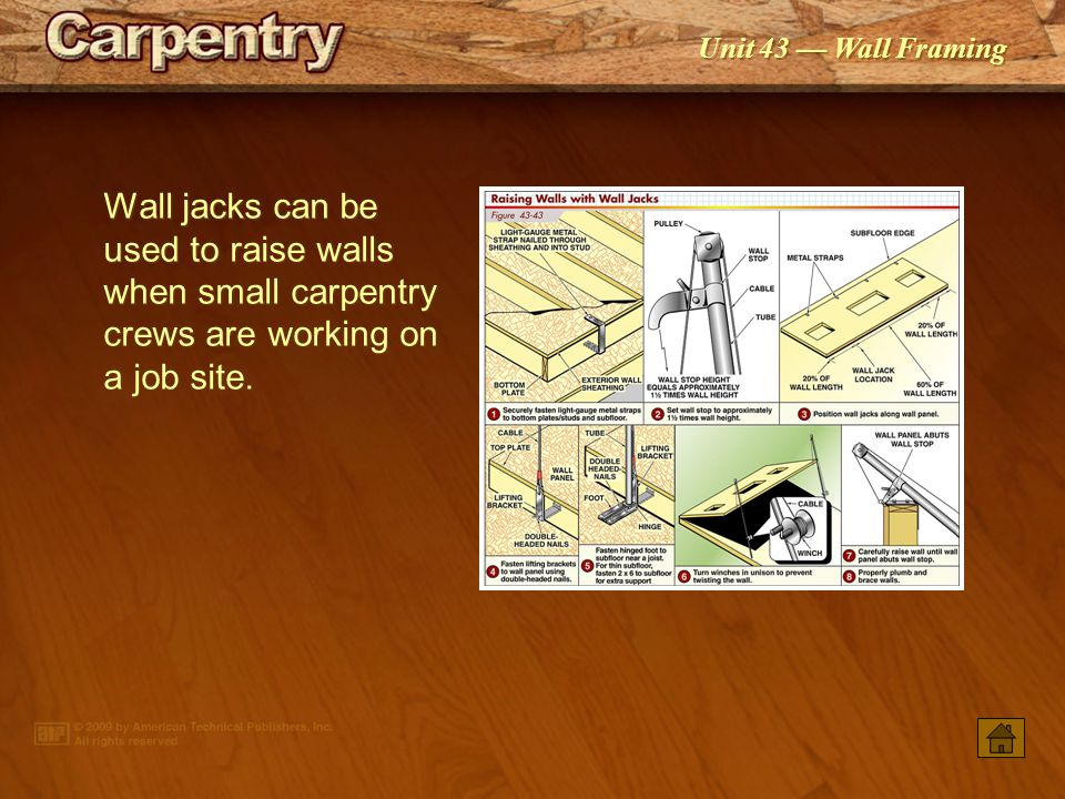 Wall jacks can be used to raise walls when small carpentry crews are working on a job site.