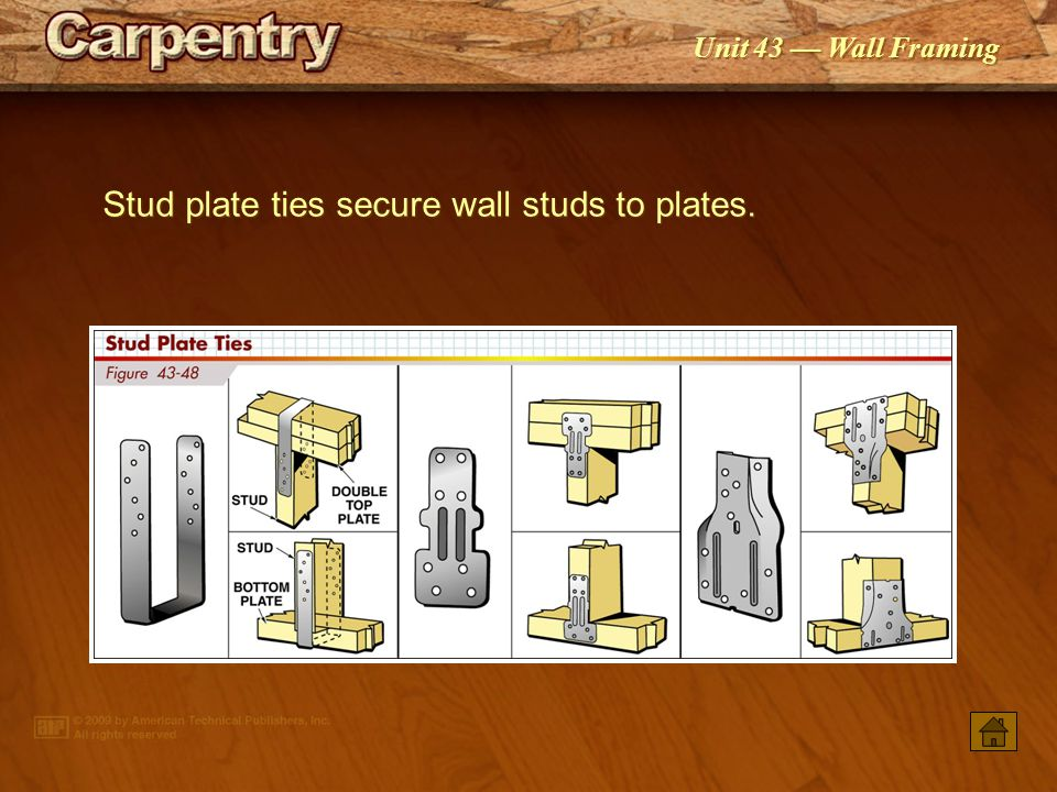 Stud plate ties secure wall studs to plates.