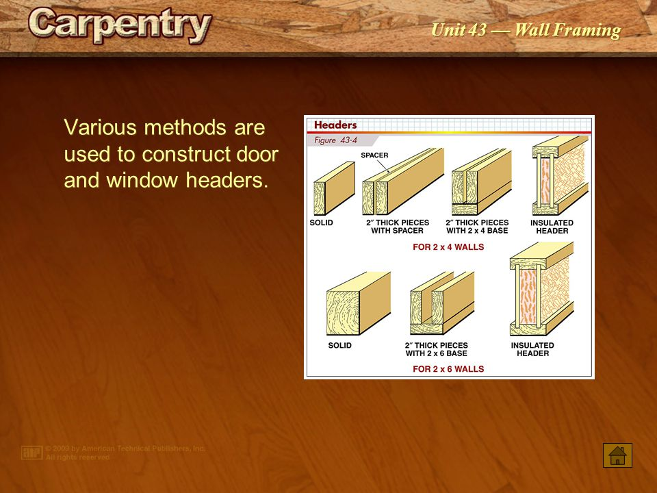 Various methods are used to construct door and window headers.