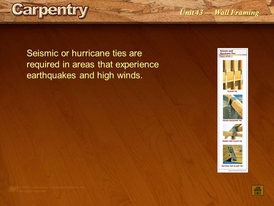 Seismic or hurricane ties are required in areas that experience earthquakes and high winds.