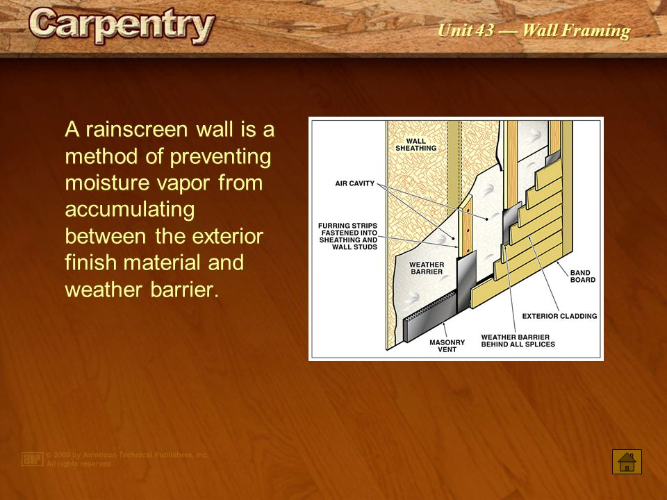 A rainscreen wall is a method of preventing moisture vapor from accumulating between the exterior finish material and weather barrier.