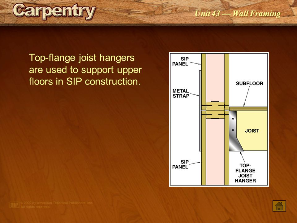 Top-flange joist hangers are used to support upper floors in SIP construction.