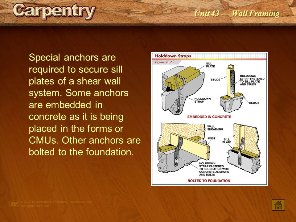 Special anchors are required to secure sill plates of a shear wall system. Some anchors are embedded in concrete as it is being placed in the forms or CMUs. Other anchors are bolted to the foundation.