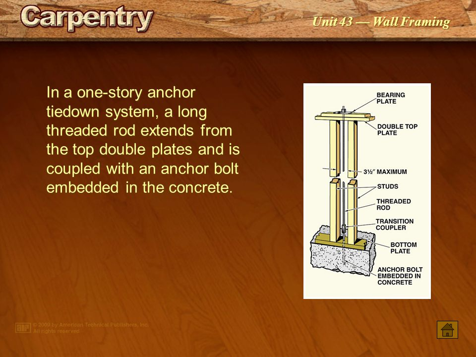 In a one-story anchor tiedown system, a long threaded rod extends from the top double plates and is coupled with an anchor bolt embedded in the concrete.