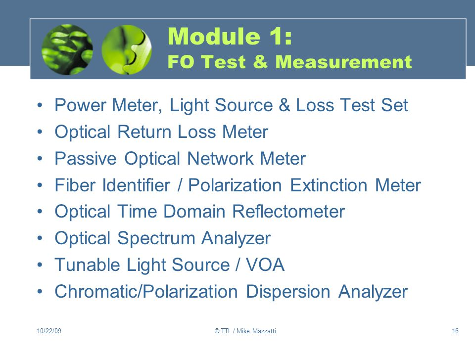 Module 1: FO Test & Measurement