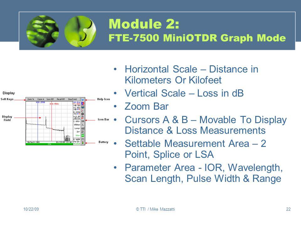 Module 2: FTE-7500 MiniOTDR Graph Mode