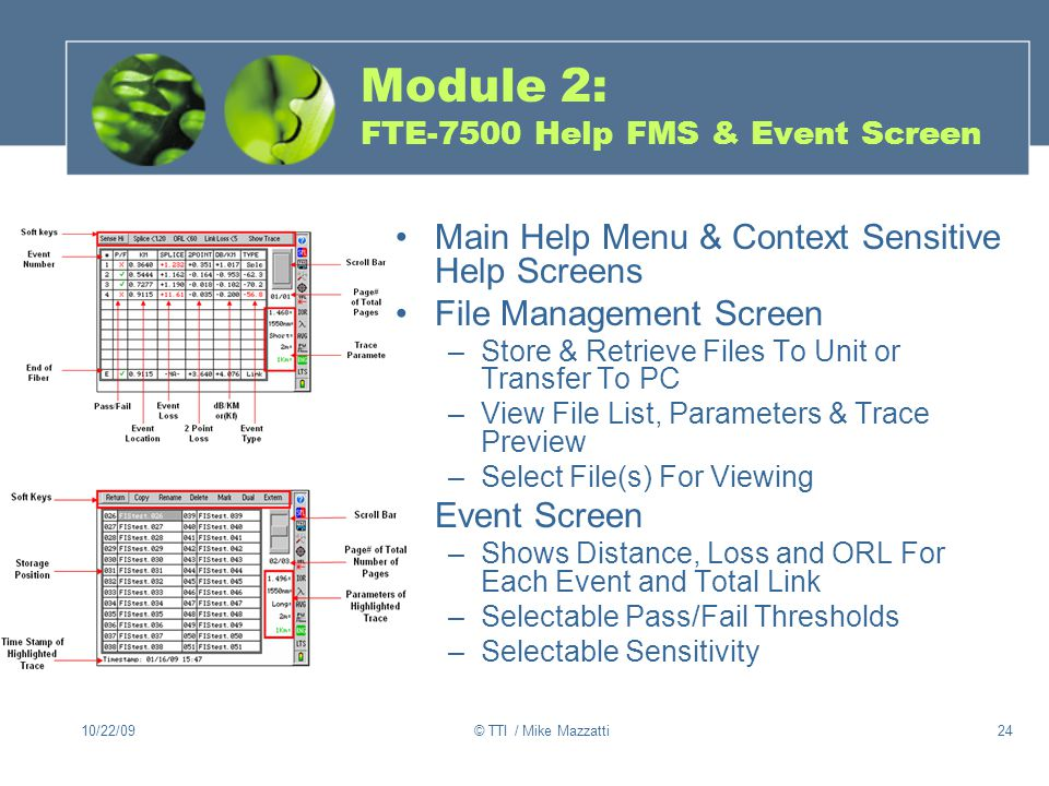 Module 2: FTE-7500 Help FMS & Event Screen