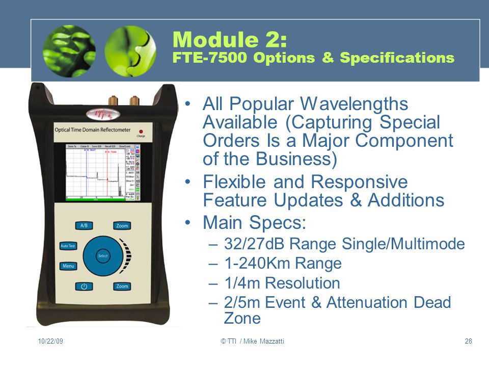 Module 2: FTE-7500 Options & Specifications