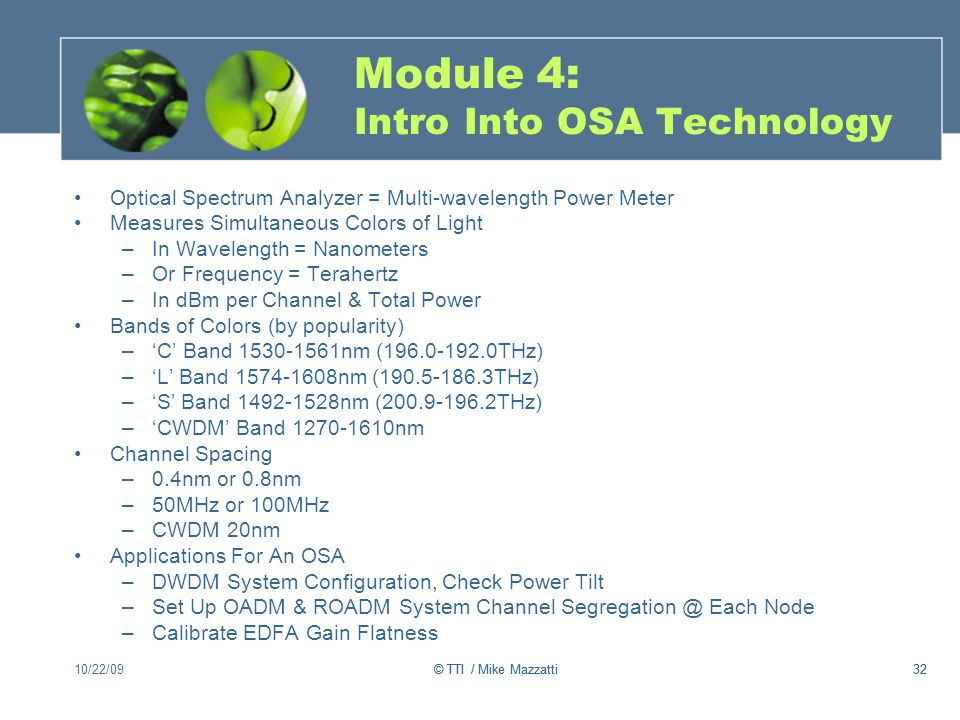 Module 4: Intro Into OSA Technology