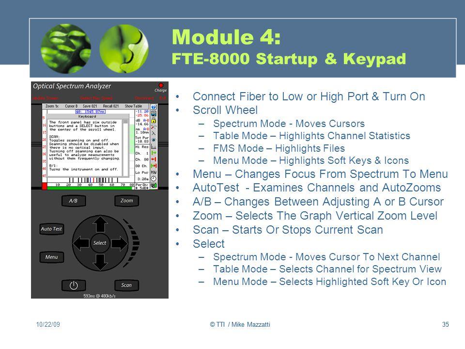 Module 4: FTE-8000 Startup & Keypad