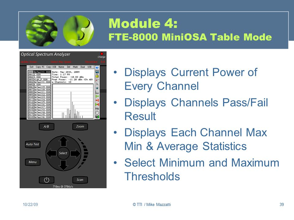 Module 4: FTE-8000 MiniOSA Table Mode
