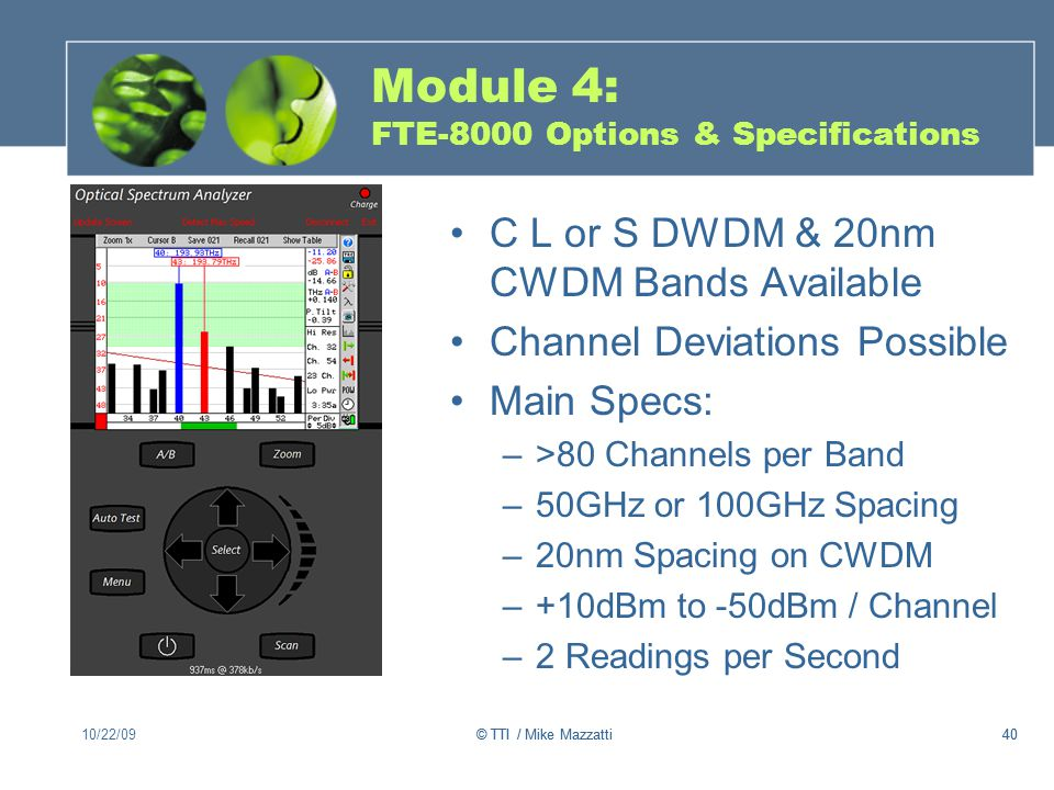 Module 4: FTE-8000 Options & Specifications