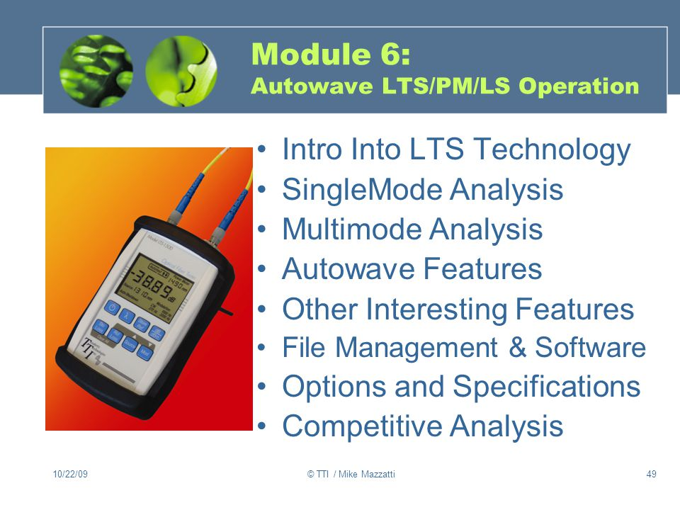 Module 6: Autowave LTS/PM/LS Operation