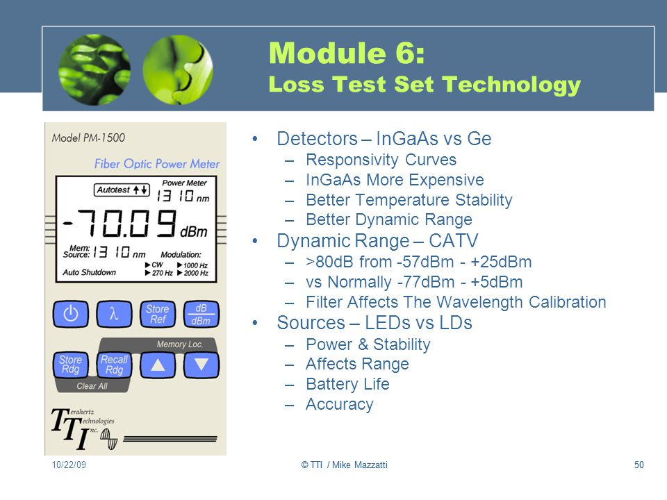Module 6: Loss Test Set Technology