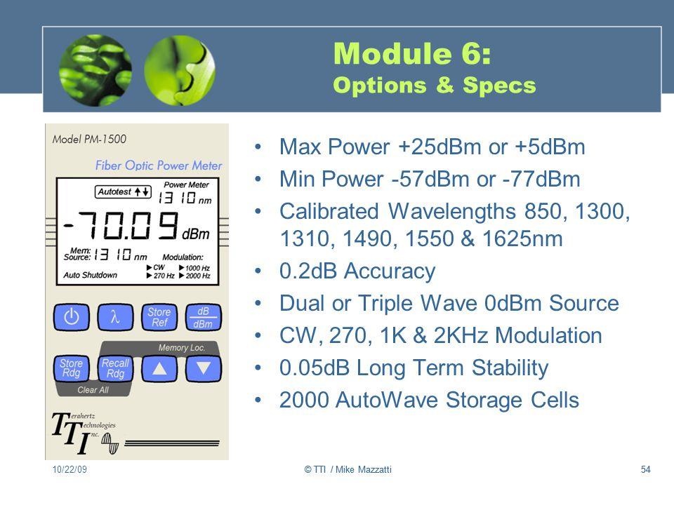 Module 6: Options & Specs