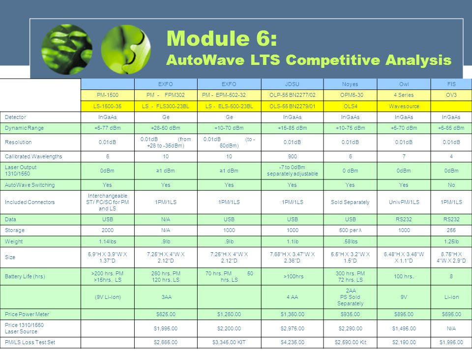 Module 6: AutoWave LTS Competitive Analysis