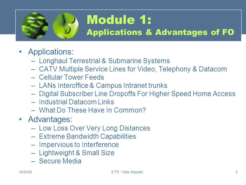 Module 1: Applications & Advantages of FO