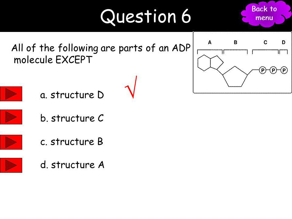 √ Question 6 All of the following are parts of an ADP molecule EXCEPT