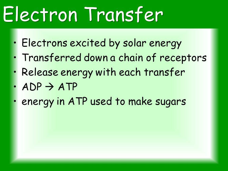 Electron Transfer Electrons excited by solar energy