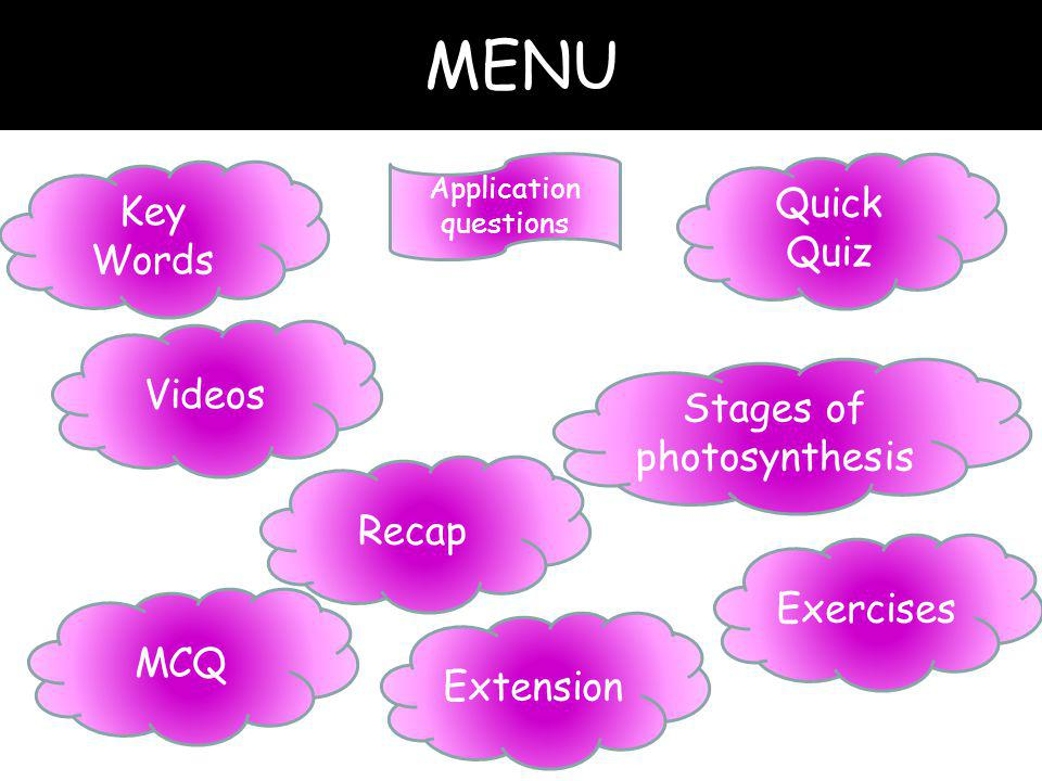MENU Quick Quiz Key Words Videos Stages of photosynthesis Recap