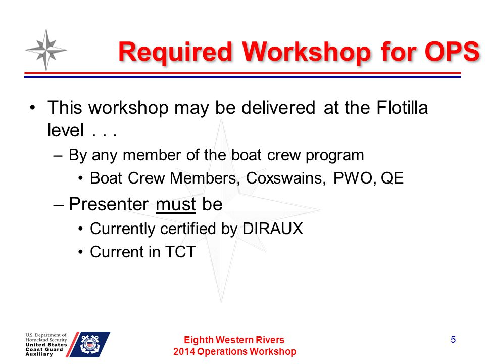 Required Workshop for OPS