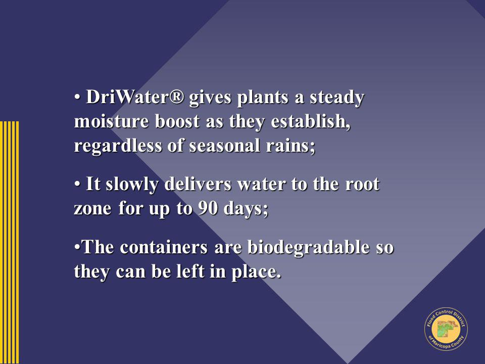 It slowly delivers water to the root zone for up to 90 days;
