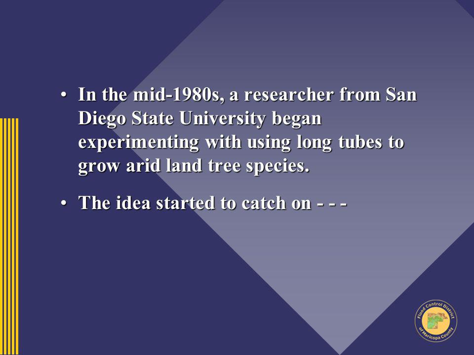 In the mid-1980s, a researcher from San Diego State University began experimenting with using long tubes to grow arid land tree species.