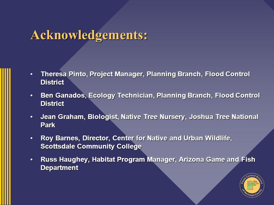 Acknowledgements: Theresa Pinto, Project Manager, Planning Branch, Flood Control District.