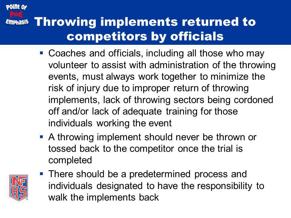 Throwing implements returned to competitors by officials