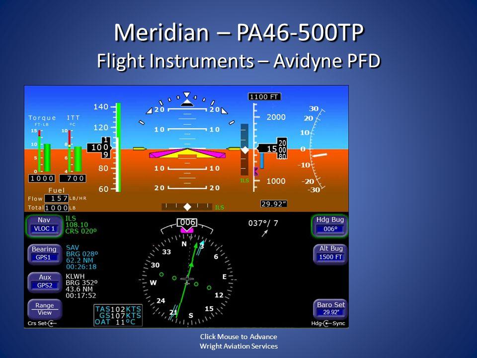 Meridian – PA46-500TP Flight Instruments – Avidyne PFD
