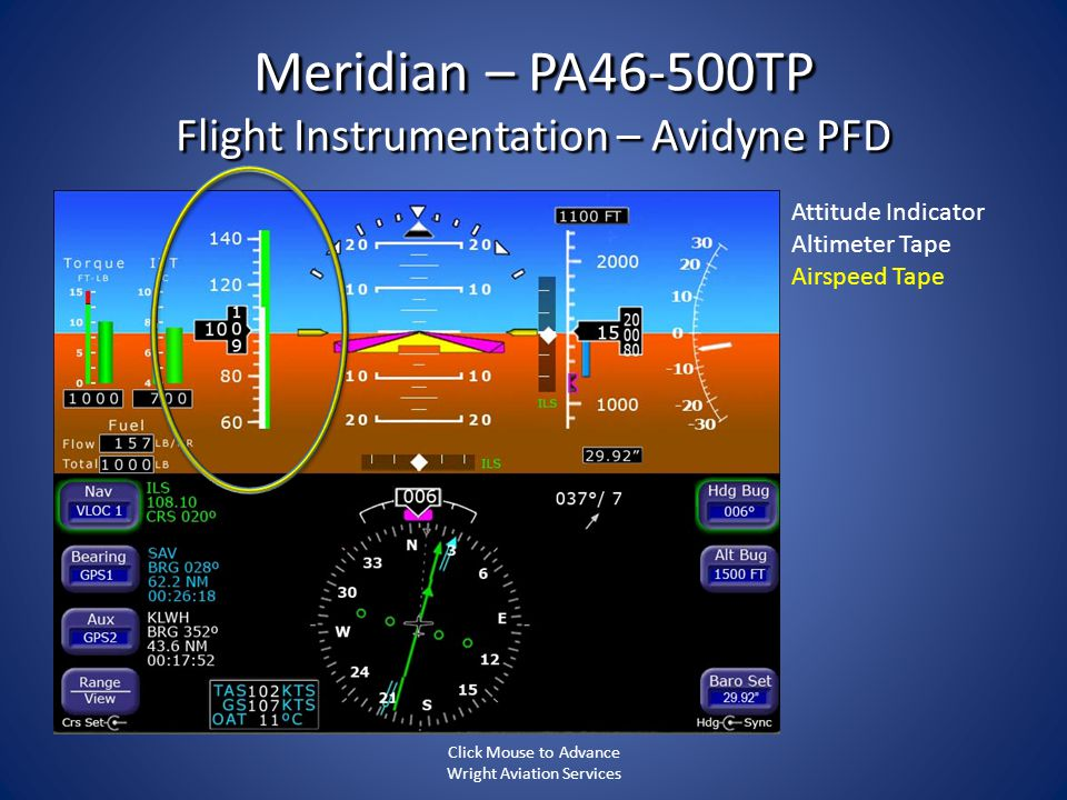 Meridian – PA46-500TP Flight Instrumentation – Avidyne PFD