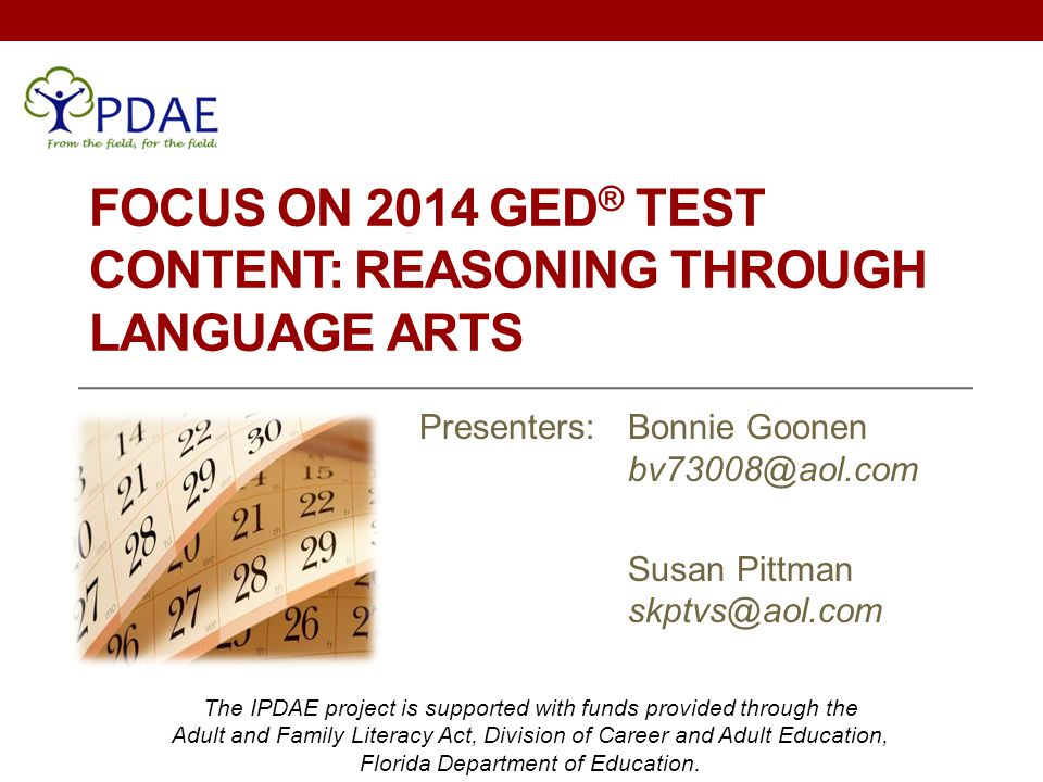 Focus on 2014 GED® Test Content: Reasoning through Language Arts
