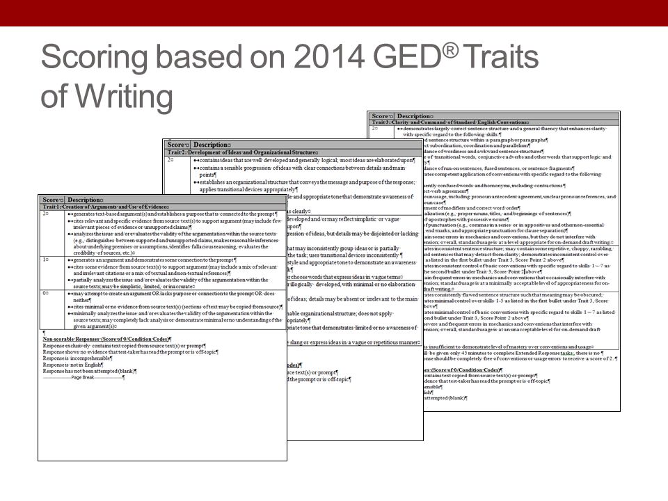 Scoring based on 2014 GED® Traits of Writing
