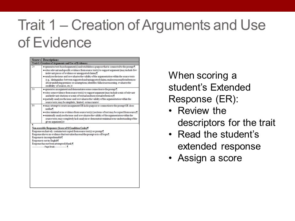 Trait 1 – Creation of Arguments and Use of Evidence