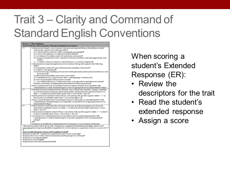 Trait 3 – Clarity and Command of Standard English Conventions