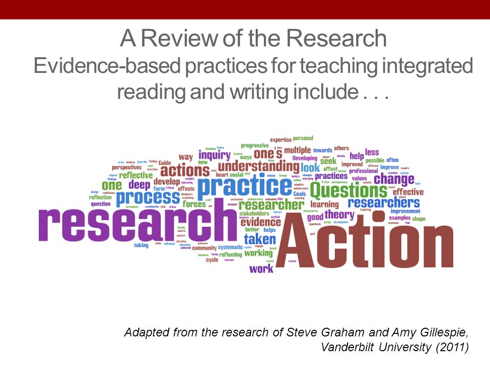 A Review of the Research Evidence-based practices for teaching integrated reading and writing include . . .
