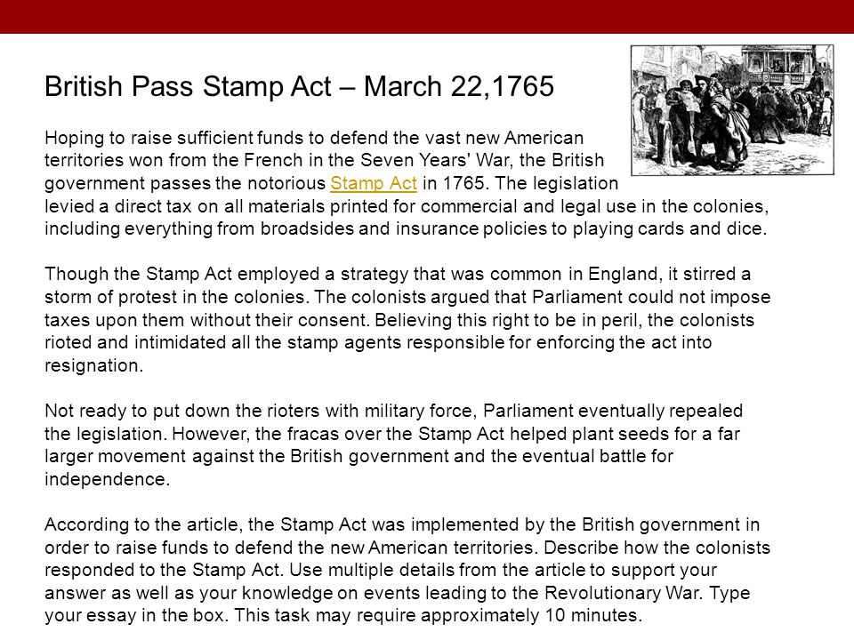 British Pass Stamp Act – March 22,1765