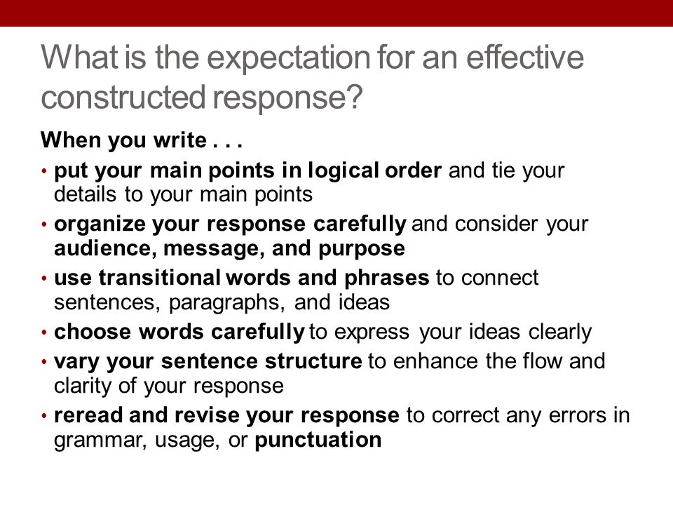 What is the expectation for an effective constructed response