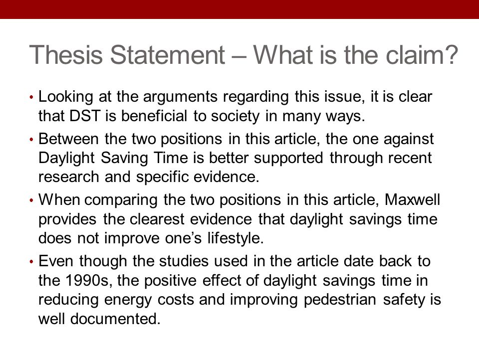 Thesis Statement – What is the claim