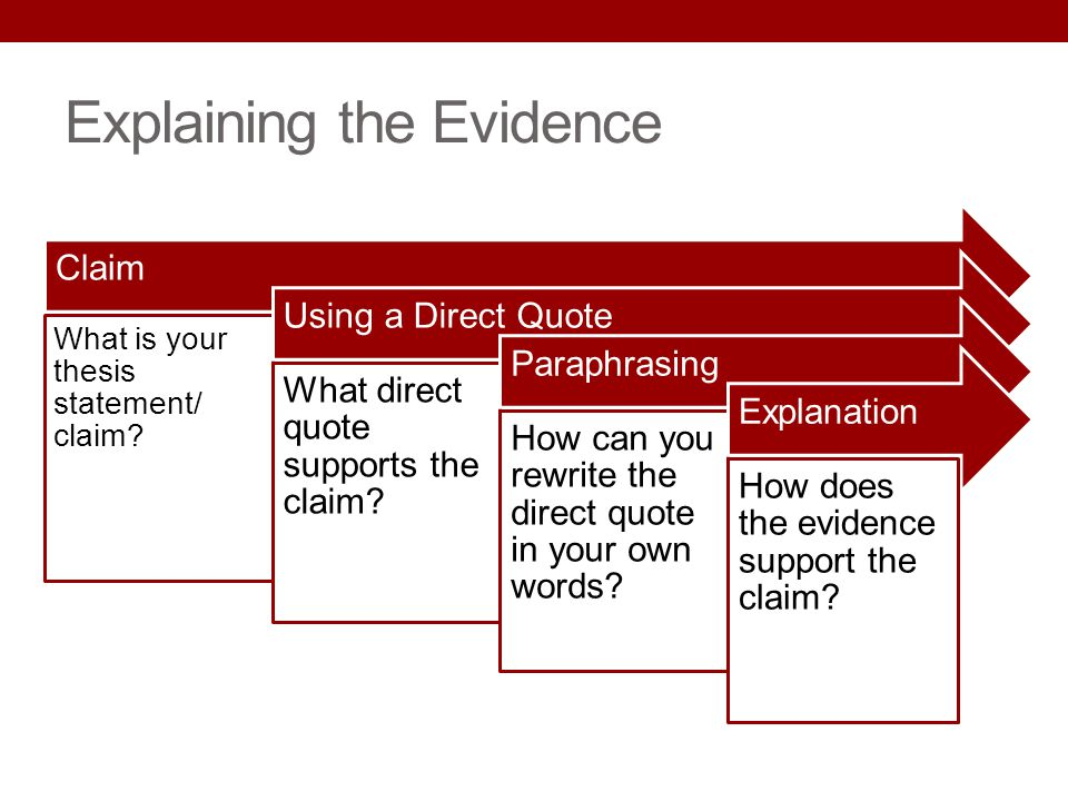 Explaining the Evidence